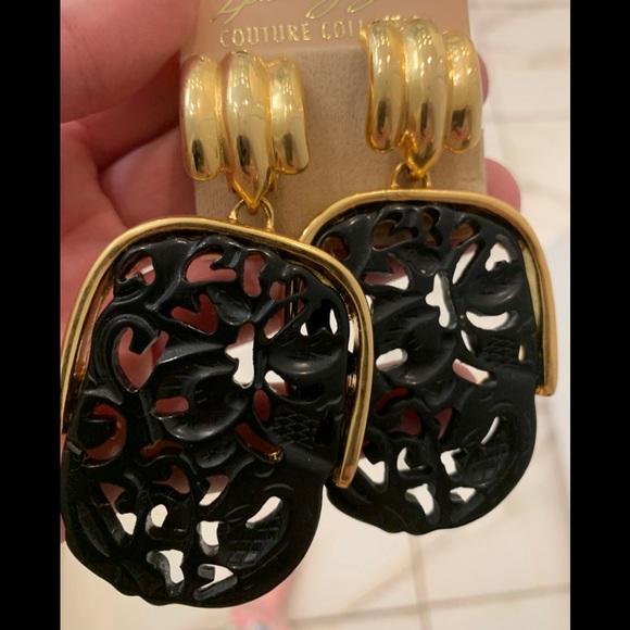 KJL Chinese Carve Black & Gold Earrings